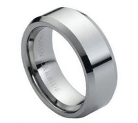 Tungsten Carbide Ring High Polish &; Beveled Edge 8mm