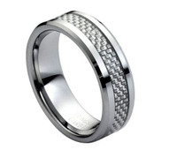 Tungsten Carbide with Grey Carbon Fiber Inlay Low Beveled Edge 8mm