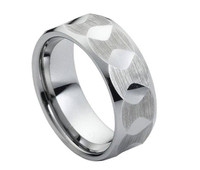 Tungsten Carbide Faceted Brushed & High Polish finish 8mm