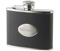 4 oz. Black Leather Wrapped with Oval Convex Stainless Steel Flask