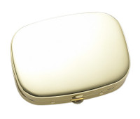 Shiny Gold Solid Cover with 3 Compartment Pill Box & Mirror