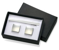 Shiny Silver Square Brass Cufflinks with Matching Tie Bar