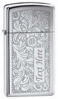 Personalized Zippo Slim Venetian Chrome Lighter