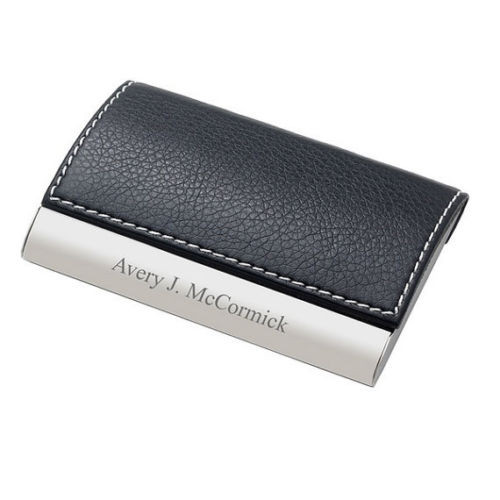 Leather Magnetic Business Card Case Engraved Holder