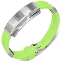 Personalized Watch Style Green Rubber Bracelet
