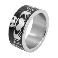 Personalized Stainless Steel Claddagh  Ring