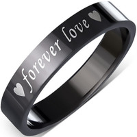 4mm Black Stainless Steel Forever Love Heart Flat Band Ring