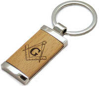 Personalized Wood and Metal Masonic Symbol Keychain