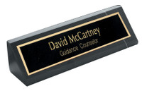 "Personalized 8"" Genuine Black Marble Desk Wedge"