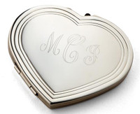 Personalized Heart Compact Mirror - Free Engraving