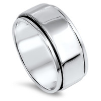 10mm Personalized Sterling Silver Spinner Ring