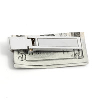 Personalized Silver Color Hinged Money clip