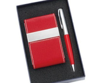 Red Leatherette Magnetic Card Holder with Matching Pen Set