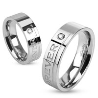 "Personalize ""Love You Forever"" Stainless Steel Ring"