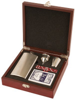 Personalized Flask Set with Playing Cards
