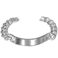 12mm Stainless Steel ID Curb Cuban Link Chain Bracelet