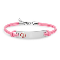 Medical ID Bracelet Pink Leather with Stainless Steel