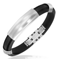 Quality Stainless Steel Bracelet with Rubber - Free Engraving