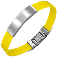 Stainless Steel with Yellow Rubber ID Bracelet