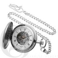 Polished Finish Hunter Case Mechanical Pocket Watch by Charles Hubert
