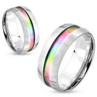 Rainbow Center Inlay Stainless Steel Couple Ring - Free Engraving
