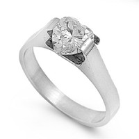 Personalized Stainless Steel Ring With Heart CZ - Free Engraving