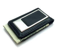 Personalized Black Leather Magnetic Money Clip - Free Engraving