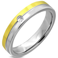 4.5mm Two Tone Stainless Steel Flat Band Ring