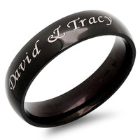 Quality  Stainless Steel Black Shiny Ring