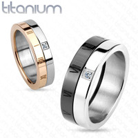 His & Hers Roman Number with CZ Titanium Couple Ring
