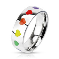 Personalized Rainbow Hearts Dome Stainless Steel Band Ring