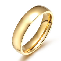 6mm Stainless Steel Polished Gold Color Traditional Band Ring