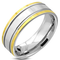 7mm Stainless Steel 2-tone Comfort Fit Band Ring