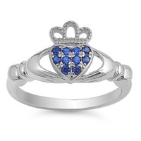 Quality Sterling Silver with Blue Sapphire Claddagh Ring
