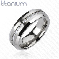 Solid Titanium Brushed Center Eternity Ring