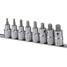 "Genius Tools Metric 1/2"" Drive Hex Bit Socket Set 8 Pc BS-408H"