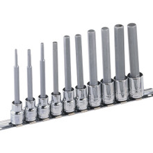 "Genius Tools Metric 3/8"" Drive Long Hex Bit Socket Set 10 Pc BS-310HML"