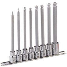 "Genius Tools Metric 3/8"" Drive Long Wobble Hex Bit Socket Set 8 Pc BS-308WHL"