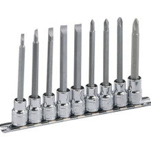 "Genius Tools 3/8"" Drive Slotted & Philips Long Bit Socket Set 9 Pc BS-309L"