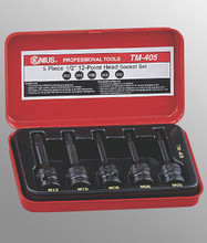 "Genius Tools 1/2"" Drive 12-Point Head Socket Set 5 Pc TM-405"