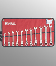 Genius Tools Metric Combination Flex Head Gear Wrench 11 Pc Set GW-7411M