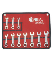 Genius Tools Metric Combination Stubby Gear Wrench 10 Pc Set GW-7610M