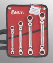 Genius Tools SAE Double Flex Head Gear Wrench 4 Pc Set GW-7704S