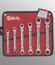 Genius Tools Metric Double Flex Head Gear Wrench 6 Pc Set GW-7806M