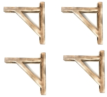"iTsUSApro 4-pack Rustic Burnt Solid Wood Shelf Bracket (8"" x 9-1/2"")"