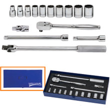 "Williams Tools SAE 12 Point 1/2"" Drive Socket and Drive Tool Set 15-Pcs"