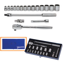 "Williams Tools SAE 6 Point 1/2"" Drive Socket and Drive Tool Set 18-Pcs"