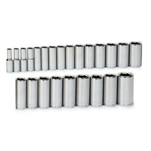 "Williams Tools Metric 1/2"" Drive Deep 6 Point Sockets Set 24-Pcs 32945"