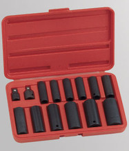 "Genius Tools SAE 3/8"" & 1/2"" Drive Deep Impact 6 Point Socket 15 Pc Set TD-3415S"