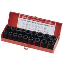 "Genius Tools SAE & Metric 1/2"" Drive Impact 6 Point Socket 28 Pc Set TF-019MS"